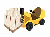 A Forklift Truck Loading Shipping Boxs With Steel Strapping