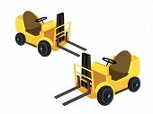 Two Powered Industrial Forklift Trucks On White Background