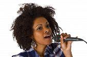 Beautiful African American Woman Karaoke Singer