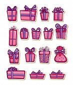 Set of nice gifts of pink and maroon color. Vector illustration.