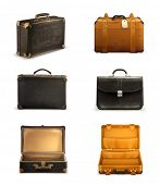 stock photo of old suitcase  - Old suitcase vector set - JPG
