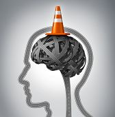 foto of neurology  - Human brain repair as neurology therapy and memory damage medical concept with an orange traffic cone as a safety hat metaphor on a group of tangled roads in the shape of a human head - JPG