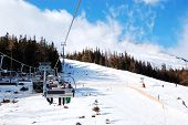 Cableway At Tatranska Lomnica. It Is The Popular Ski Resort In High Tatras With 6 Km Long Dowhnill T