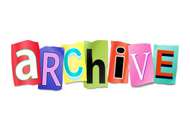 foto of annal  - Illustration depicting a set of cut out printed letters arranged to form the word archive - JPG
