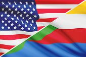 Series Of Ruffled Flags. Usa And Union Of The Comoros.
