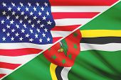 Series Of Ruffled Flags. Usa And Commonwealth Of Dominica.