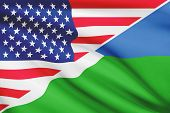 Series Of Ruffled Flags. Usa And Republic Of Djibouti.