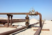 picture of bahrain  - Oil pipeline in the desert of Bahrain - JPG