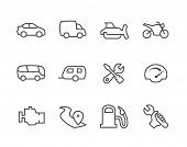 stock photo of dozer  - Simple set of auto related vector icons for your design - JPG