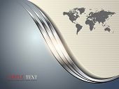 Business background grey with metallic wave, vector illustration.
