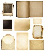 Old mail, paper, book, polaroid frames, stamp isolated collection