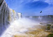 The  waterfall in the world - Iguazu. White whipped foam of water and a thin mist over the water. The picture is taken by lens Fisheye. Between a waterfall and a rainbow fly huge Andean condors