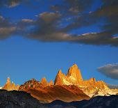 The magnificent sunrise over the peak of Fitzroy in Patagonia.