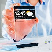 Futuristic Smart phone (copy space display) with a transparent display in human hands. Concept actua