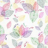 Colorful Spring Leaves Seamless Pattern