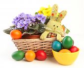 bright easter eggs and flowers