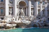 ROME - MAY 2009: Facade of Trevi Fountain largest Baroque fountain in the city and one of the most f