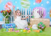 Sweet Toddler Girl In Easter Scene