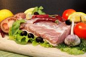 picture of shoulder-blade  - Still Life with Fresh Meat and Vegetables - JPG
