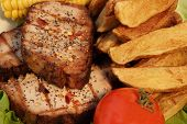 Grilled Pepper Steaks And  Wedges Potato,  Xxxl
