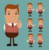 picture of mood  - Set of businessman emotion eps10 vector format - JPG