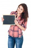 Student girl with chalkboard, isolated on white background