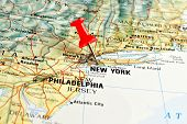 New York on map with pointer