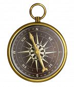 picture of nautical equipment  - golden or brass old nautical compass illustration - JPG