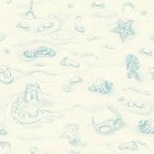 Seamless summer beach background, hand-drawn illustration.