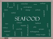 Seafood Word Cloud Concept On A Blackboard