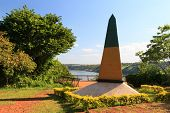 FOZ DO IGUAÇU - MARCH 14: Obelisk Triple Frontier on March 2014, Brazil, Argentina, Paraguay