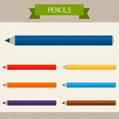Pencils colored templates for your design in flat style.