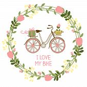 floral wreath and bike