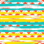 stock photo of zigzag  - Vector seamless ethnic pattern with bold zigzag brushstrokes and stripes in bright colors can be used for print - JPG