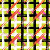 Plaid pattern with brushstrokes and stripes