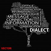 Vector eps concept or conceptual white dialect tree word cloud on black background wordcloud