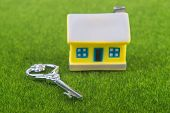 key and house on grass background