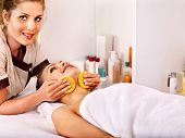 stock photo of beauty parlour  - Blond beautiful woman getting head massage - JPG