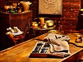 Luxury ayurvedic spa massage still life.