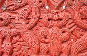 Detail of an old beautiful maori carving, Rotorua, New Zealand