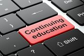 Education concept: Continuing Education on computer keyboard background
