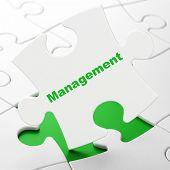 Business concept: Management on puzzle background