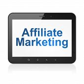 Business concept: Affiliate Marketing on tablet pc computer