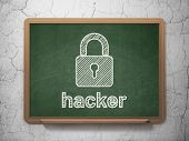 Security concept: Closed Padlock and Hacker on chalkboard background