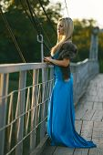 beautiful blond girl standing on the bridge in the park.