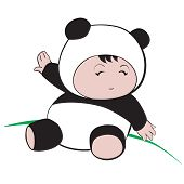 Baby In Panda Costume  : Done In A Hand-drawn Vector Illustration Style