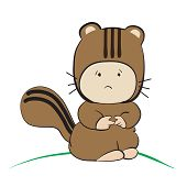 Baby In Squirrel Costume  : Done In A Hand-drawn Vector Illustration Style