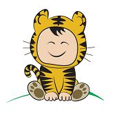 Baby In Tiger  Costume  : Done In A Hand-drawn Vector Illustration Style