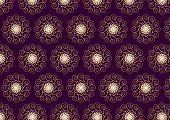 Gold Flower And Swirl Pattern On Dark Purple Background