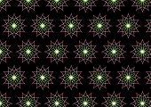 Abstract Pink Neon Flower Pattern On Black Background